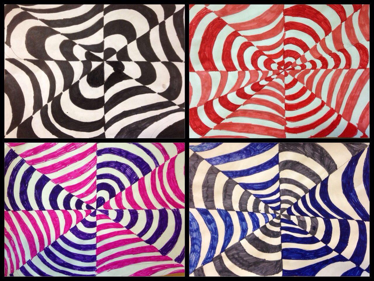 Optische illusie door groep 7 knutselen tekenen midden for Tekenen in 3d