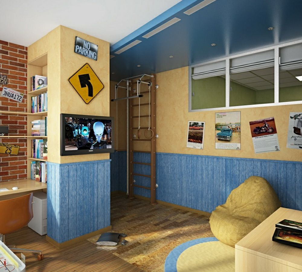 kids bedroom with tv. Cute And Cool Bedroom Design For Kids: Beauteous Boys Kids Room Fantastic Television Idea Interior Decorating With Creamy Blue Painting Tv