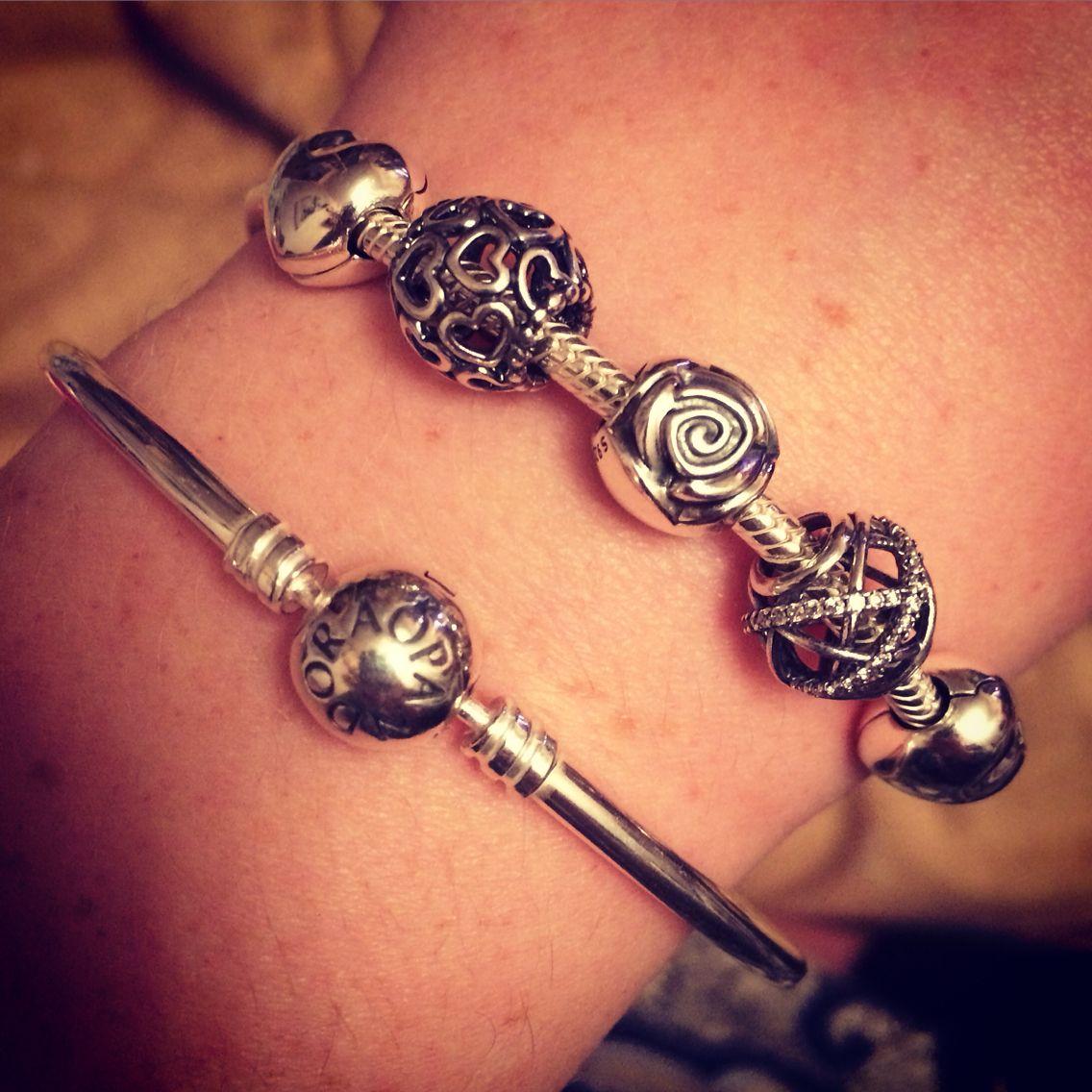Pandora Bracelet & Bangle with heart, rose and sparkle charms