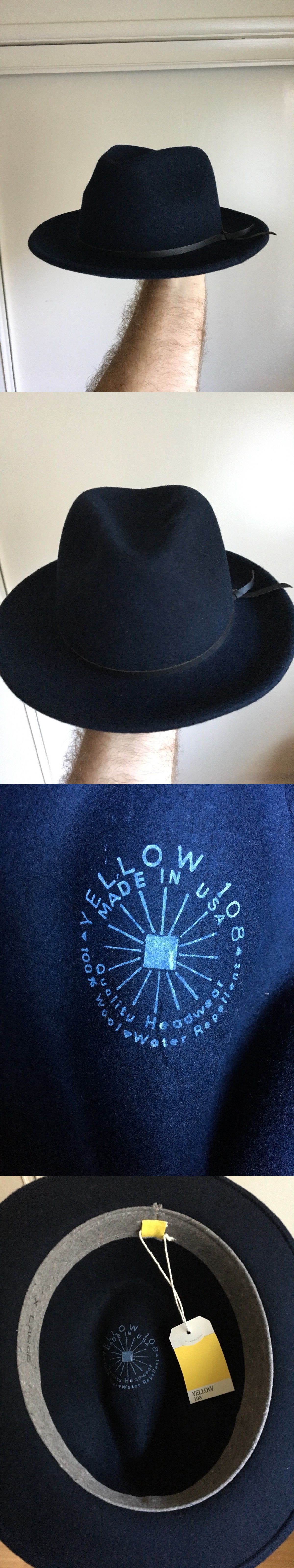 6a7a4735e675e Hats 163543  Yellow 108  Luke  Blue Navy Wool Fedora Xl Nwt Usa  90+ ...