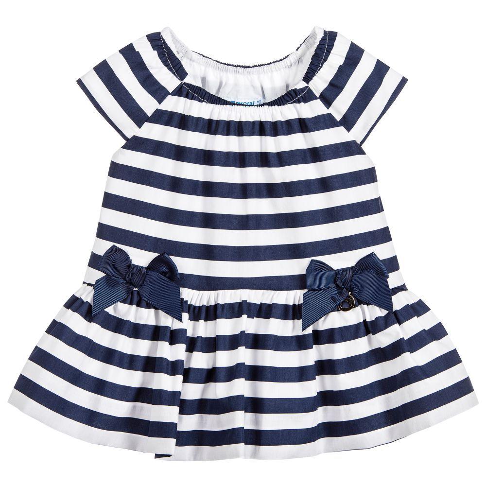 5f1cc63f9910 Mayoral Girls Blue Striped Dress at Childrensalon.com