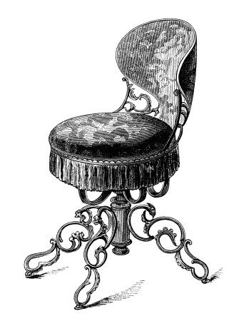 Antique Music Chair Swivel Seat Black And White Clip Art Vintage