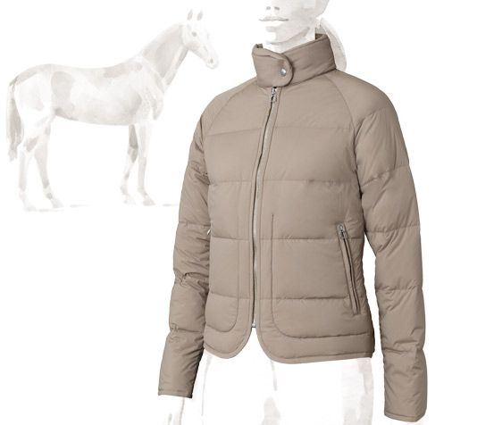 Piumino Hermes women s down jacket in putty with pure goose down duvet 810c5054238