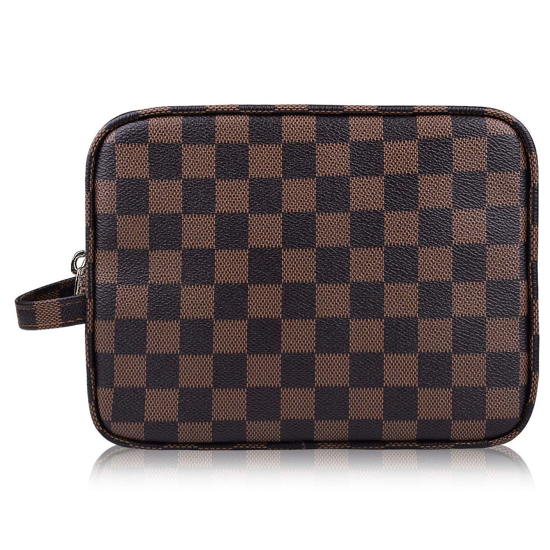 AMRA Luxury Checkered Make Up Bag PU Vegan Leather