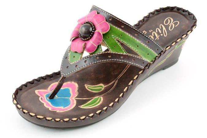 492b79e4fc21 Corkys Elite Leather Hand Painted Jenny medium wedge thong sandal