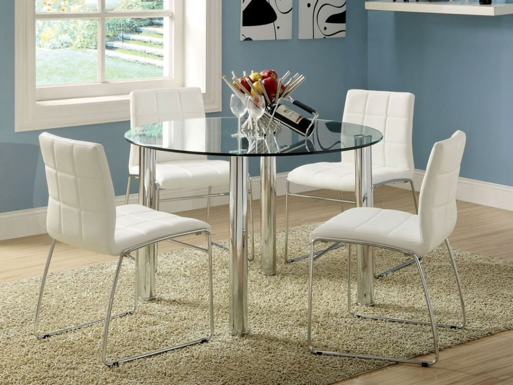 Dining Room Marvelous Round Glass White Dining Table With White Leather Dining Chairs And Metal Glass Round Dining Table Round Dining Room Glass Dining Table
