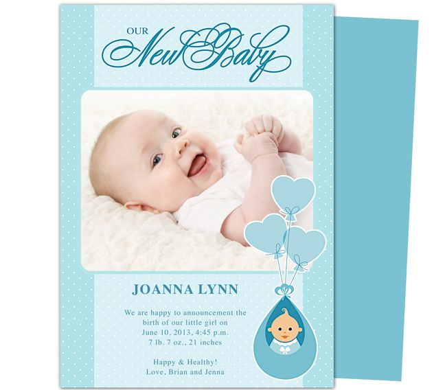 Baby Birth Announcements Template edits easily in Word, Publisher