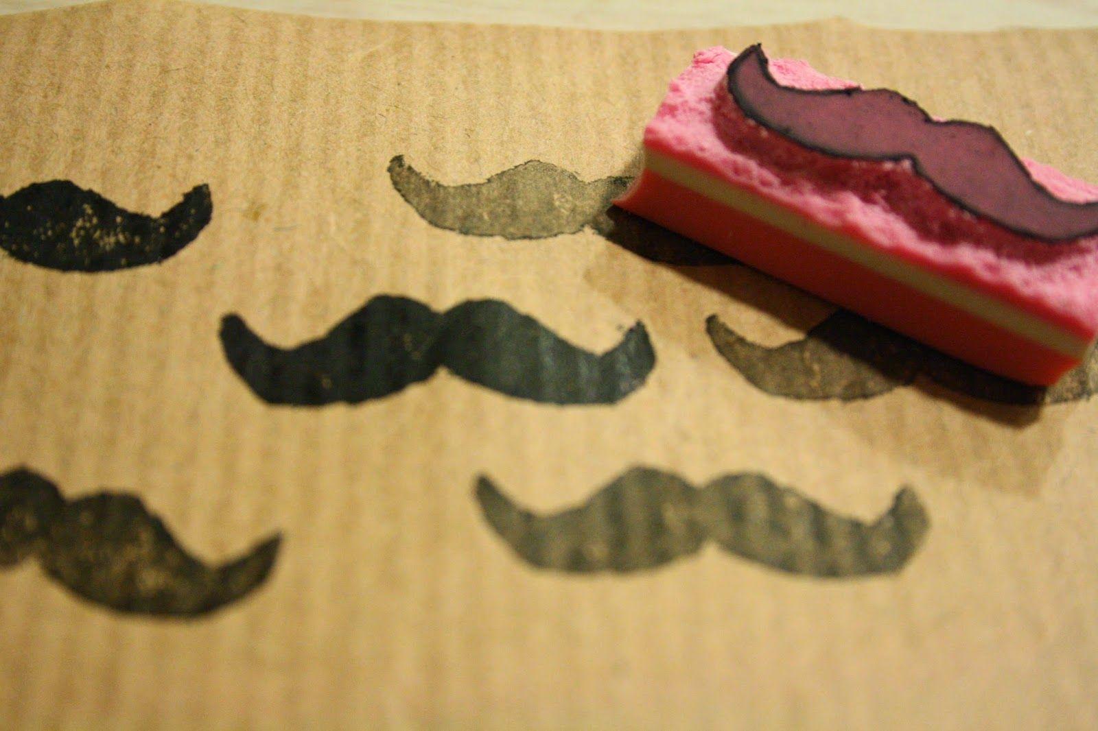 Tuntematon Tuunaaja: DIY viiksileimasin pyyhekumista // DIY mustache stamp made from eraser