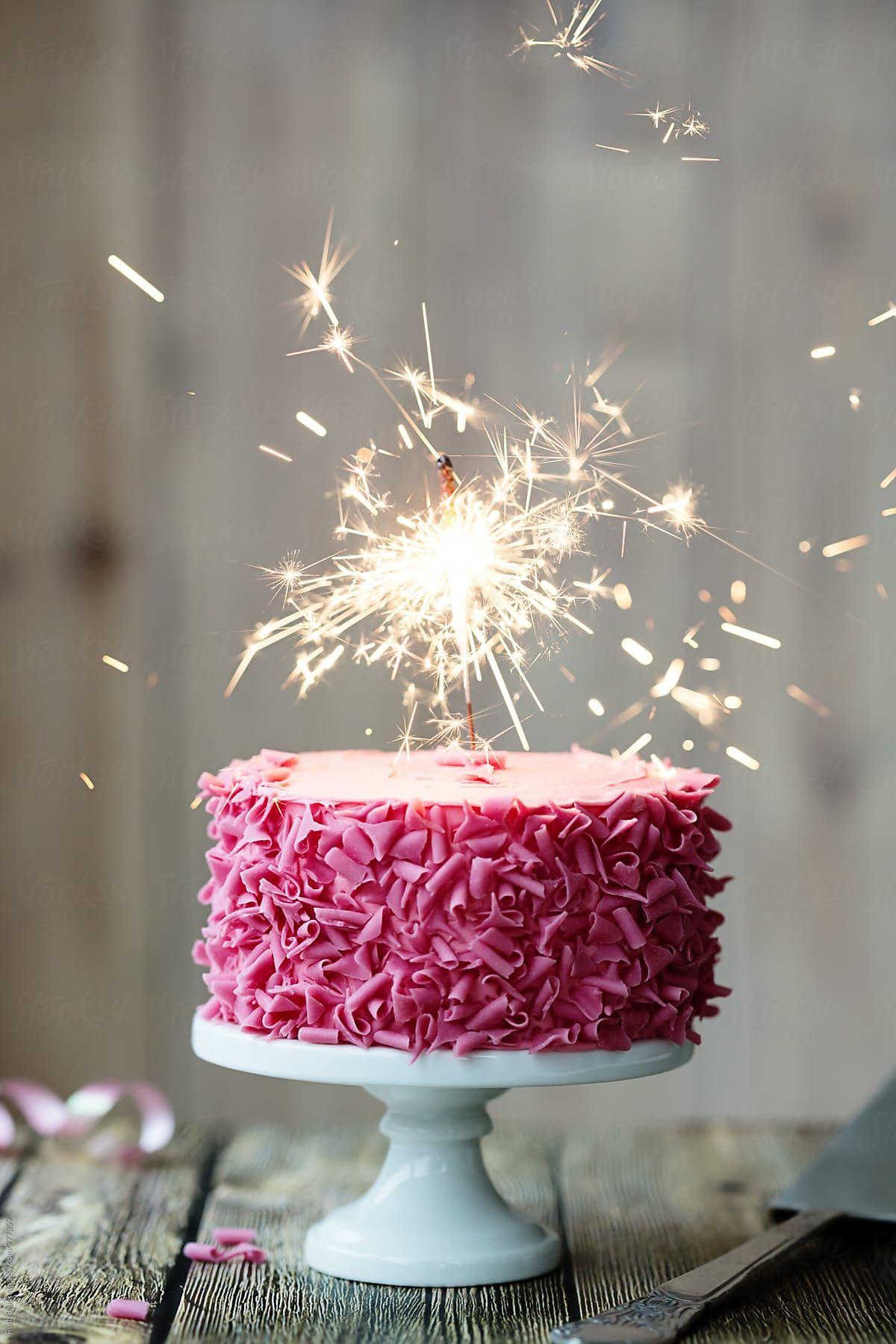 Awesome Pink Celebration Cake With Sparkler Stocksy United Cake Funny Birthday Cards Online Inifodamsfinfo