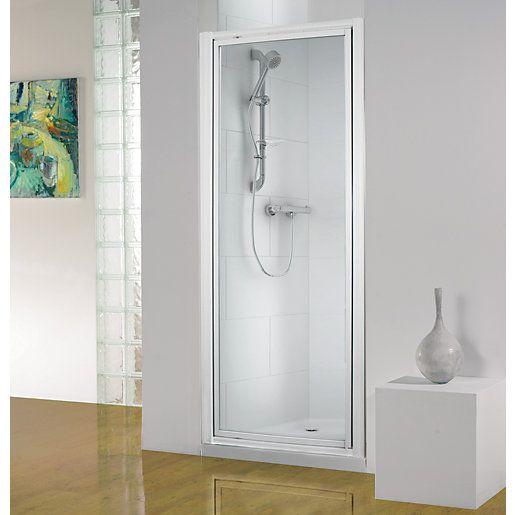 Wickes Pivot Shower Enclosure Door White Frame 760mm Shower