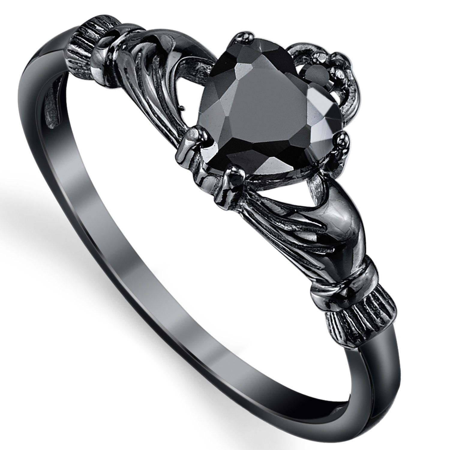Black Sterling Silver Irish Claddagh Friendship & Love Ring Heart