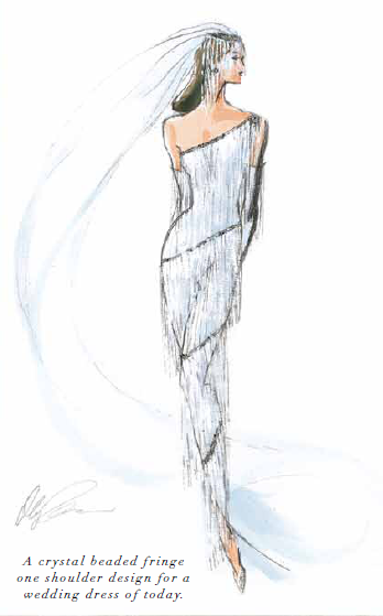 Fashion figure drawing dress in labyrinth
