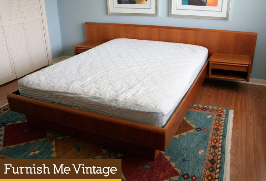 Vintage Danish Modern Queen Size Semi Floating Teak Platform Bed