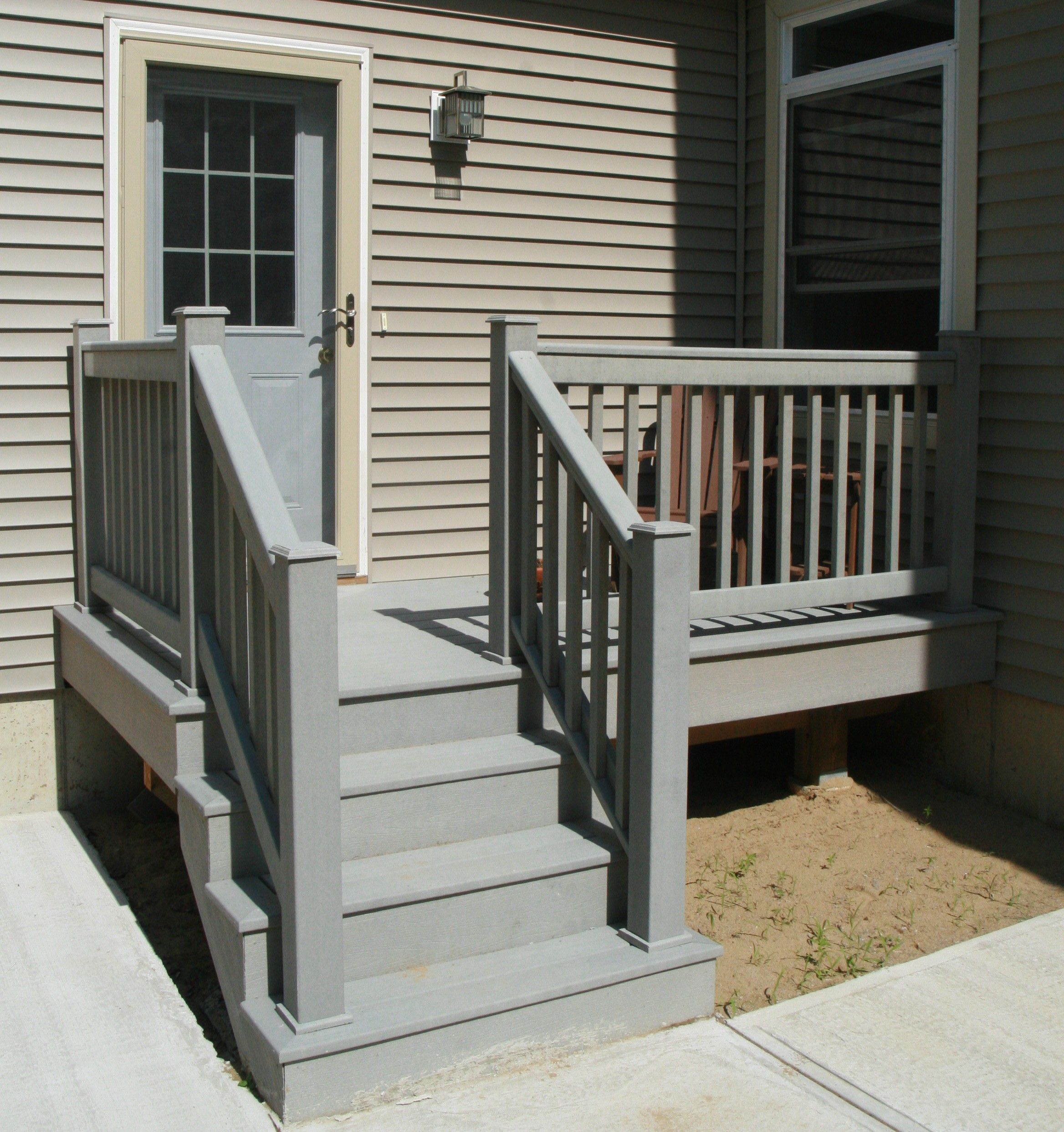 Composite decking simple stairs back yard pinterest for Composite deck railing