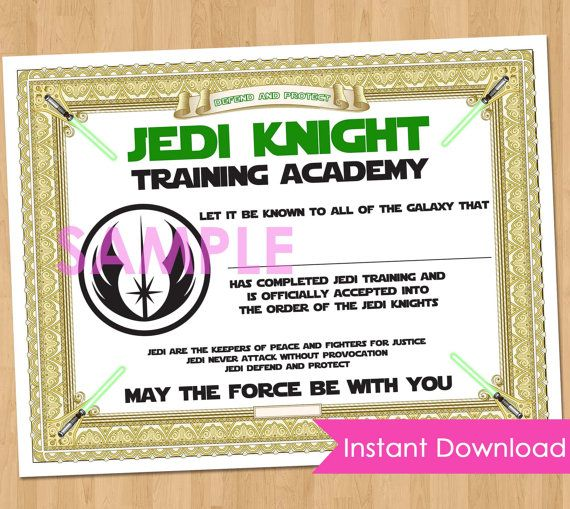 Training certificate red training certificate template red training jedi academy training certificate instant by kidspartyprintables yadclub Gallery
