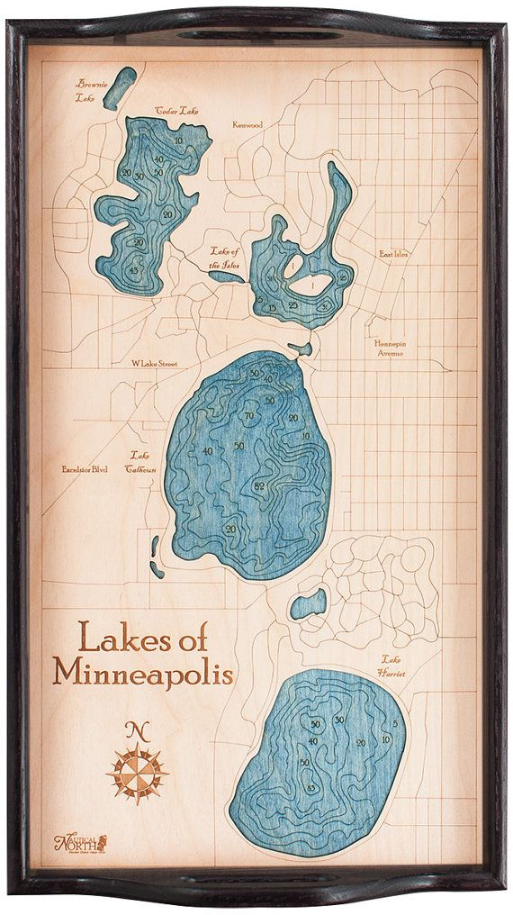 Lakes of Minneapolis Serving Tray  Black Frame  Running Map