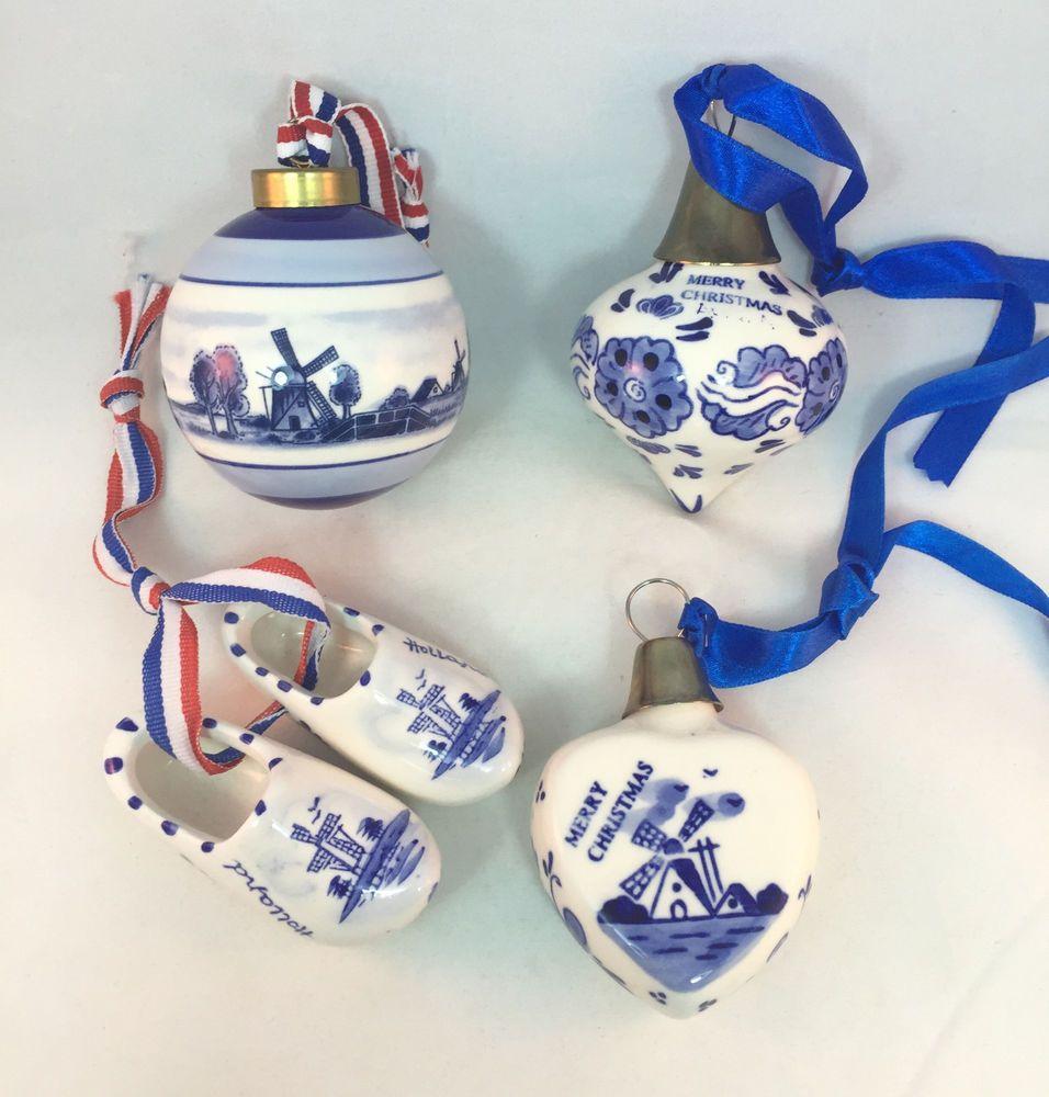 Delft Blue Holland Set4 Christmas Ornaments Dutch Windmill