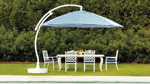 parasol garden sunshade stripe pattern blue white pinterest balcony. Black Bedroom Furniture Sets. Home Design Ideas