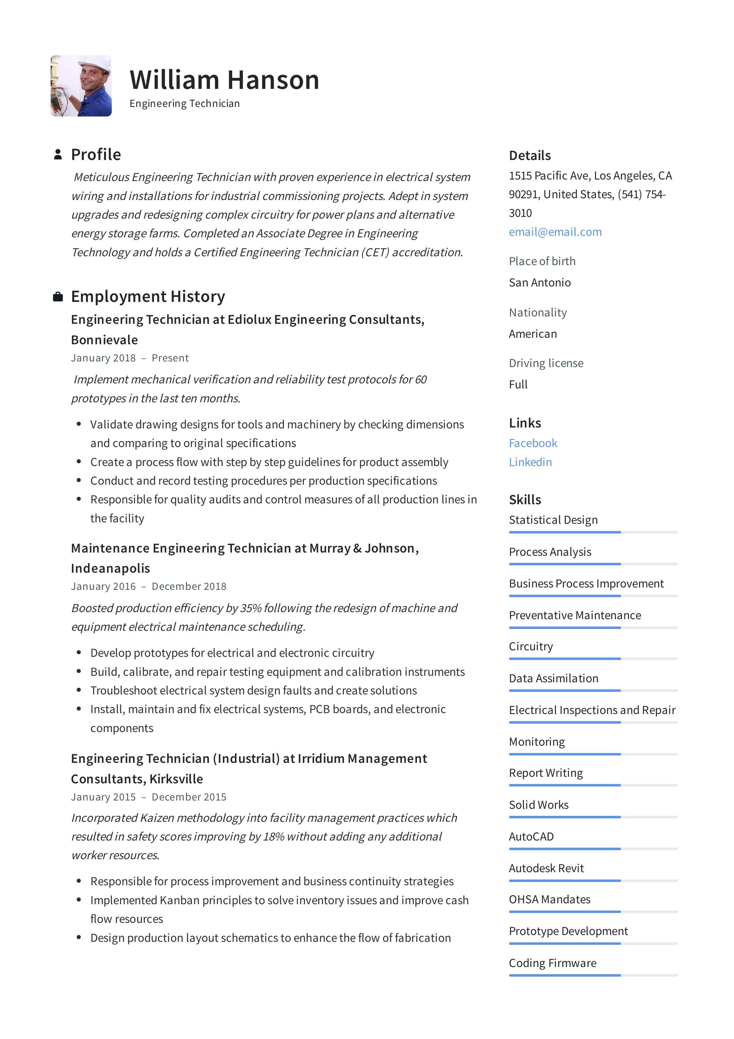 Engineering Technician Resume Template In 2020 Engineering Student Engineering Resume Student Resume