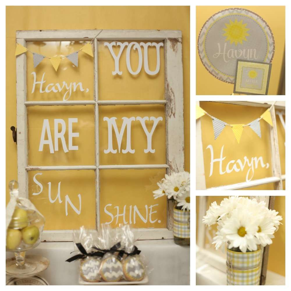 Yellow & Grey Sunshine Birthday Party Ideas