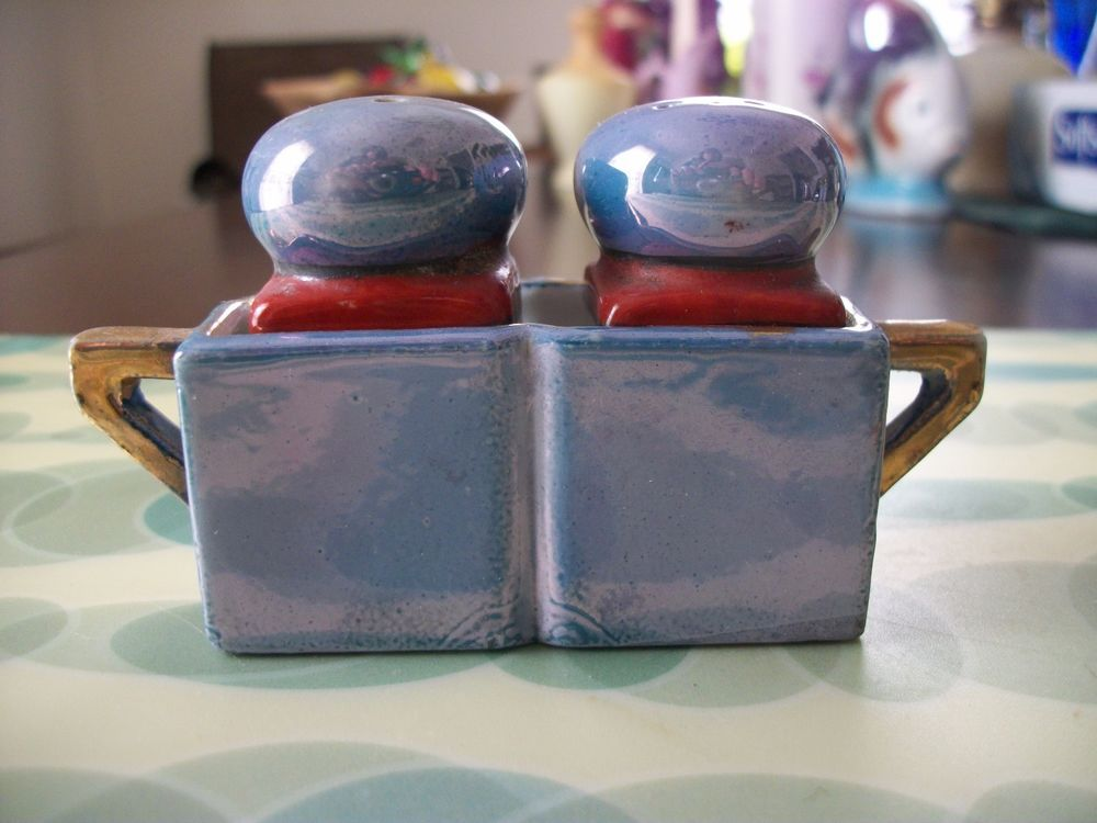 Vintage Lusterware: Salt and Pepper Shakers with Holder