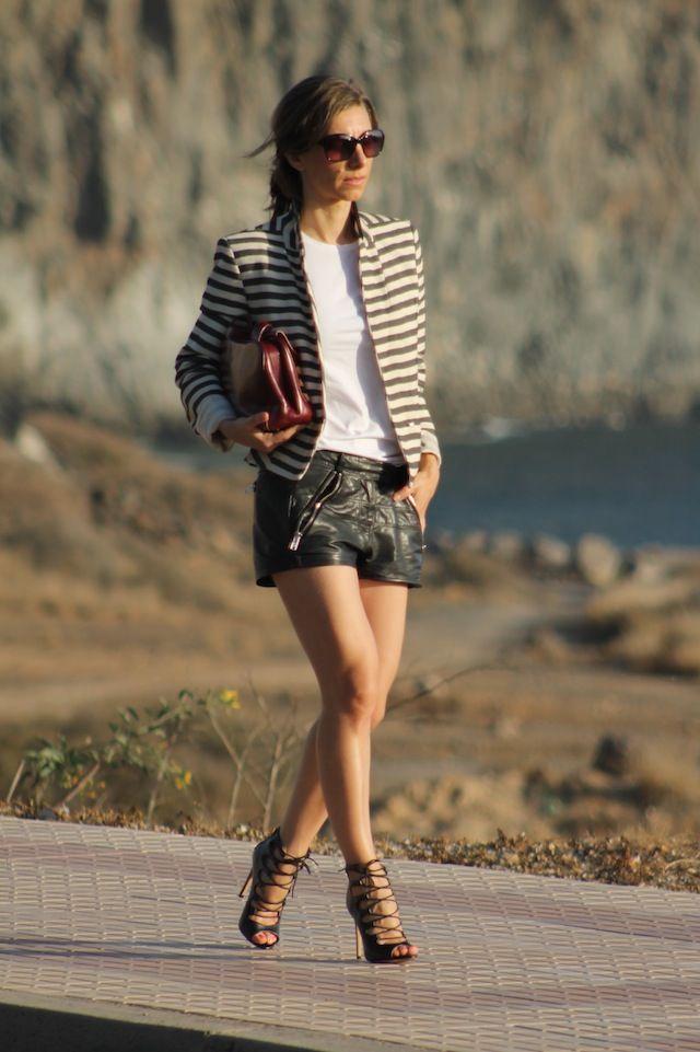 Leather shorts + striped blazer