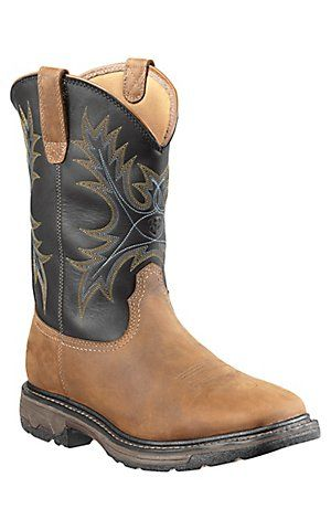 Ariat Workhog Men S Aged Bark Brown W Black Top Square Steel Toe Work Boot Cavender S Boot City Work Boots Steel Toe Work Boots Boots