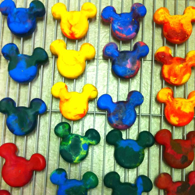 Melted crayons in the shape of Mickey. Harder than it looks.