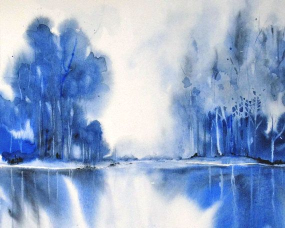 Blue Painting Landscape Abstract Navy Monochromatic Giclee Etsy Monochromatic Paintings Abstract Abstract Painting