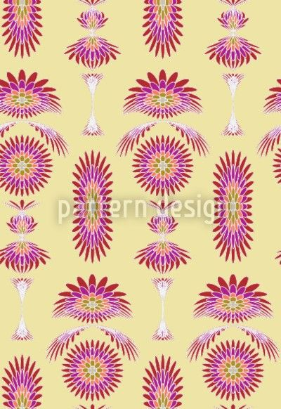Abstract pattern with flower-like illustrations.