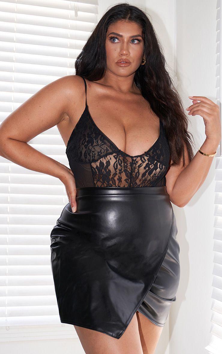 Plus Luisa Black Faux Leather Wrap Mini Skirt