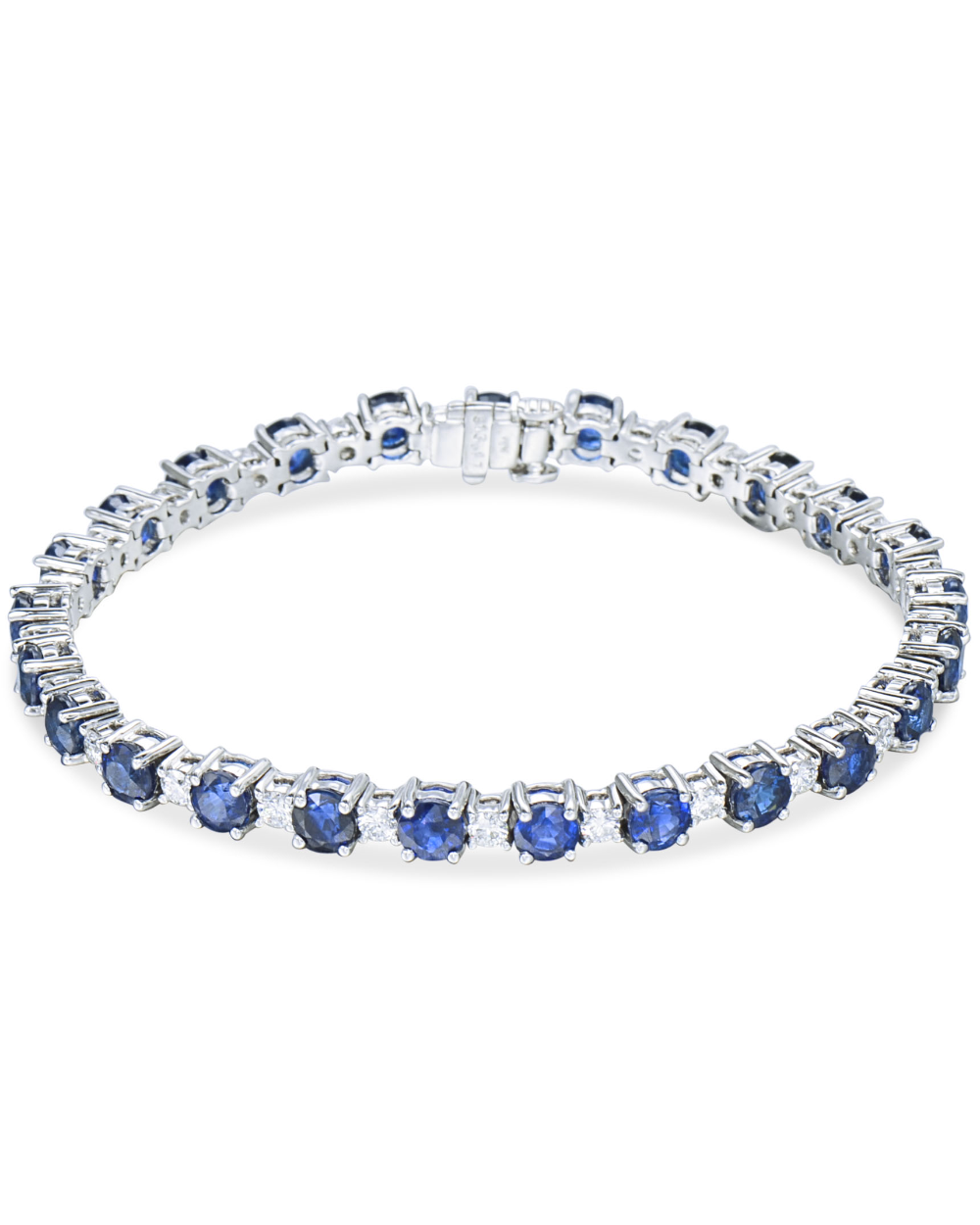 Round Sapphire And Diamond Bracelet Gold Bracelet Set White Gold Bracelet Diamond Bracelets