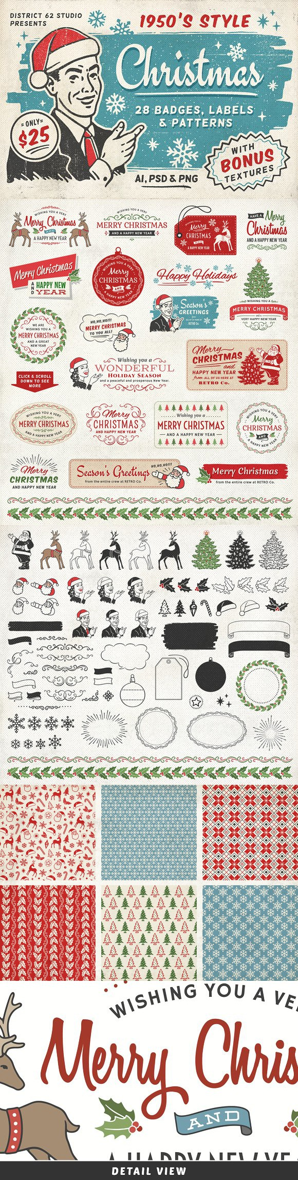 Retro Christmas Labels vol.2. Christmas Patterns. $25.00