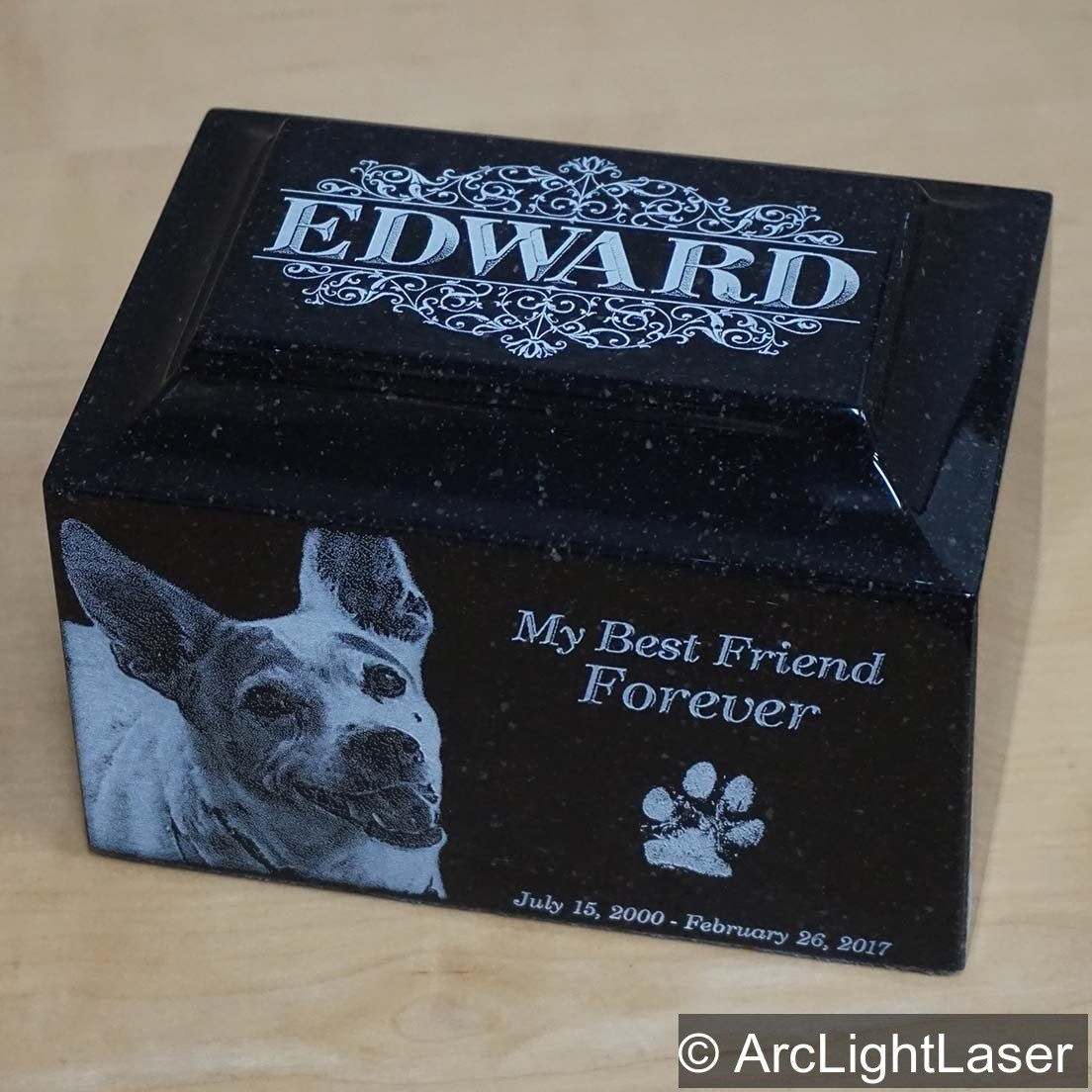 A Laser Engraved Pet Cremation Urn Can Be Engraved On All Five