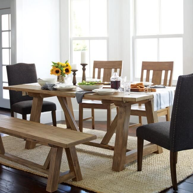 Wood Leona Farmhouse Extension Dining Table V2 Furniture