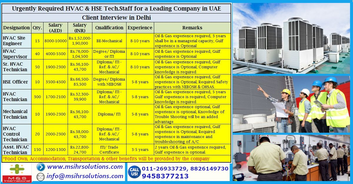 """Urgently Required HVAC & HSE Tech.Staff for a Leading"
