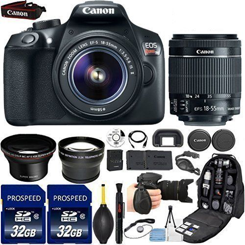 This 33rd Street Deluxe Bundle Includes : Canon EOS Rebel T6 DSLR Camera with Canon EF-S 18-55mm f/3.5-5.6 IS II Lens. 2.2x Telephoto Lens offers a 2.2x magnification to provide a narrower field of view. Multi-coated glass optics help to maintain the original lens' quality by reducing flare...