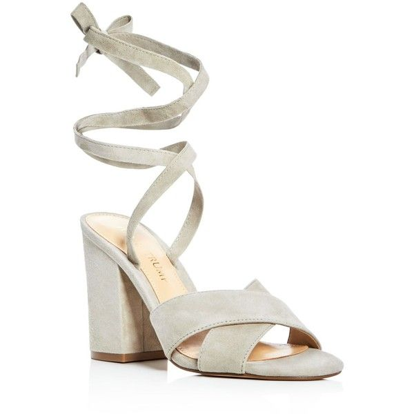 Ivanka Trump Kuriel Ankle Tie High Heel Sandals (1,165 MXN) ❤ liked on  Polyvore featuring shoes, sandals, mushroom gray, ankle tie sandals, ankle  s…