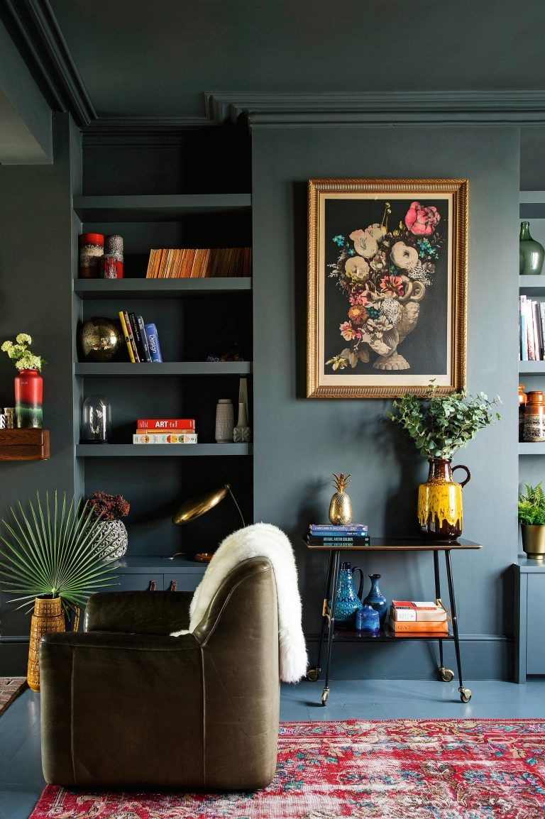 Modern Victorian Style Wall Treatments And Art Get The Look Emily Henderson Dark Living Rooms Living Room Decor Living Decor