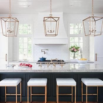 Marvelous Dark Blue Kitchen Island With Gold Barstools In 2019 Home Machost Co Dining Chair Design Ideas Machostcouk