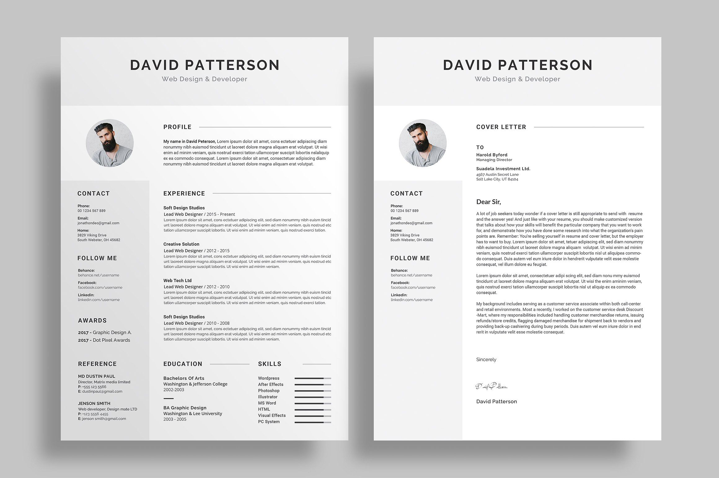modern resume  cv template design for job seekers