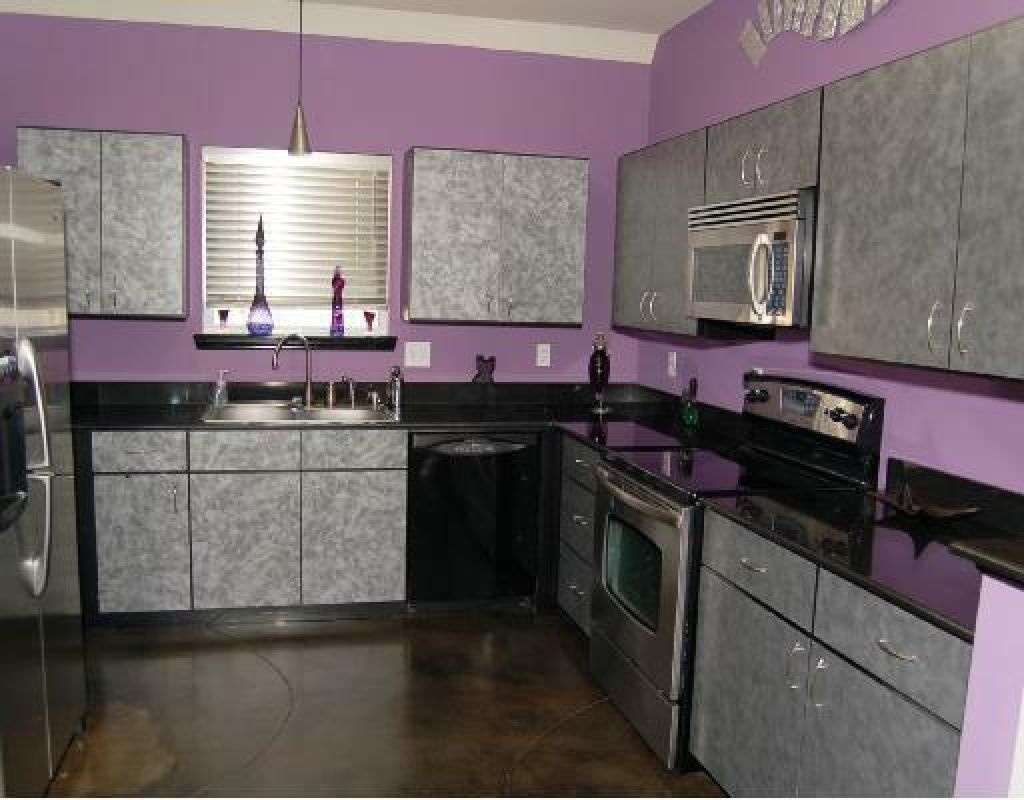 Home Interior Gallery: Contemporary Modern Kitchen Purple Color Design Ideas