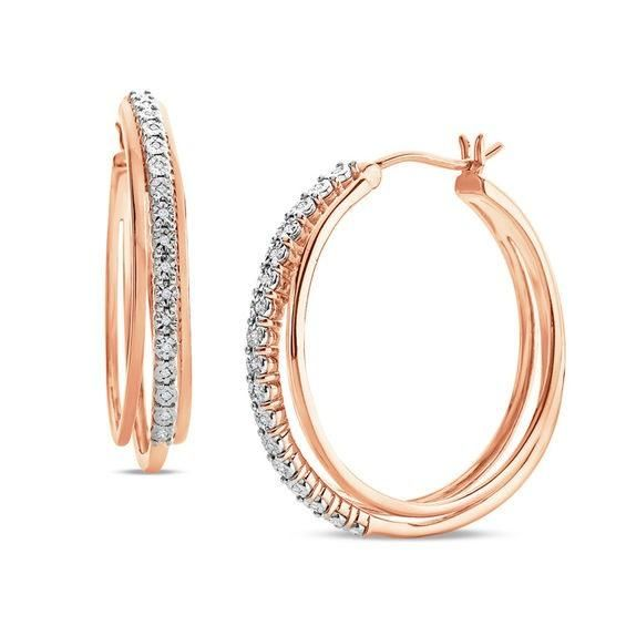 Zales 1/10 CT. T.w. Enhanced Cognac Diamond Hoop Earrings in 10K Rose Gold