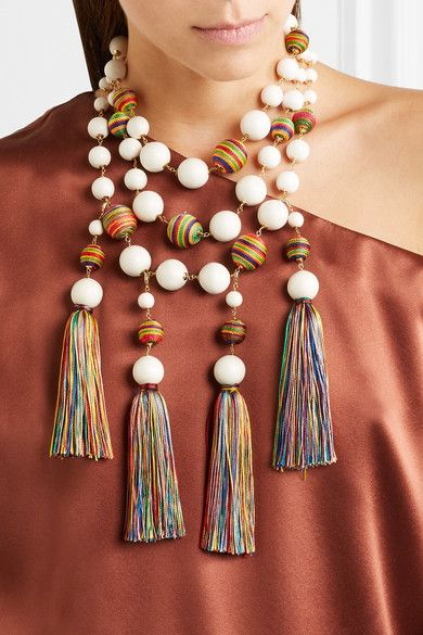 Rosantica - Arlecchino Convertible Tasseled Beaded Gold-tone Necklace - White - one size