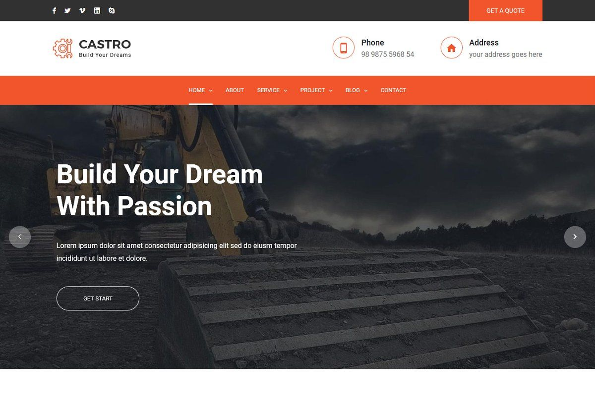 Castro React Construction Template Html5 Templates Browser Support Templates
