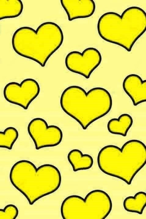 Yellow Background With Yellow Hearts Outlined In Black Emoji Love Heart Outline Love Wallpaper