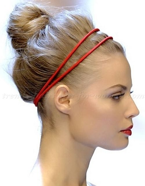 high bun hairstyles - top knot hairstyle with headband  beef30a8b5f