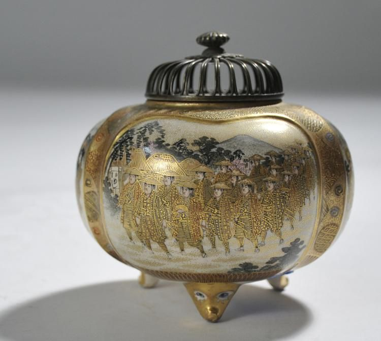 "Japanese Meiji Satsuma footed censer - 4.75""H"