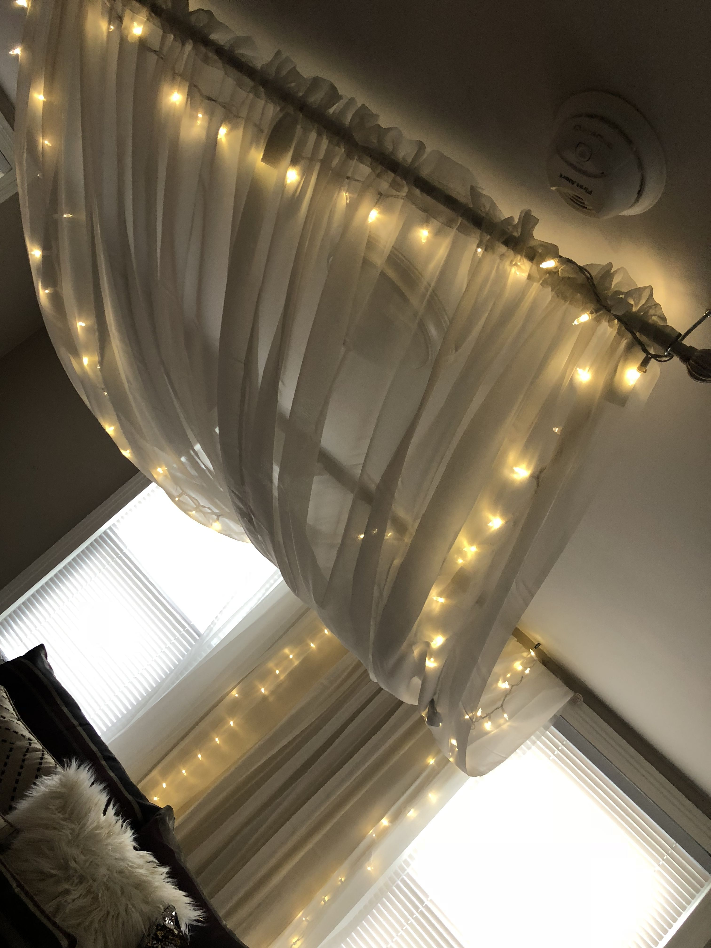 Lighted canopy. 4 white curtains 2 curtain rods 2 sets of Christmas lights! #GreenCurtains & Lighted canopy. 4 white curtains 2 curtain rods 2 sets of ...