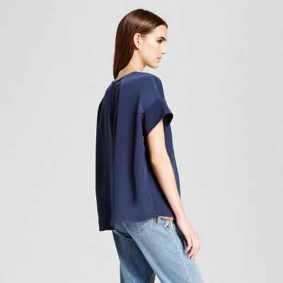 Women's Short Sleeve Top with Seaming Detail - Mossimo Navy (Blue) Xxl